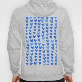 Brush stroke hearts - blue Hoody