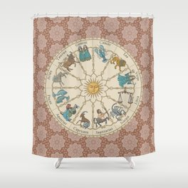 Vintage Astrology Zodiac terracotta Shower Curtain