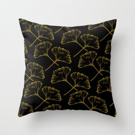 Gold on Black Ginkgo Throw Pillow