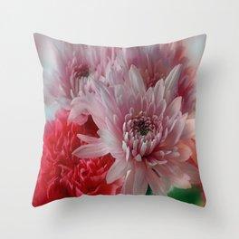 Carnation and Chrysanthemums  Throw Pillow