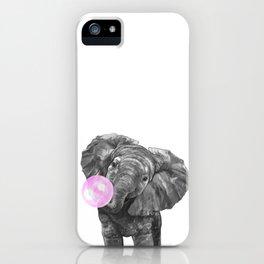 Bubble Gum Elephant Black and White iPhone Case