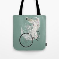 louis armstrong Tote Bags featuring armstrong by mauro mondin