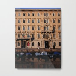 canal and boats in Italian city scene Metal Print