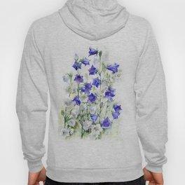 Bluebells watercolor flowers, aquarelle bellflowers Hoody