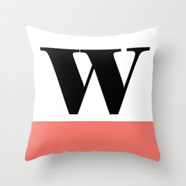 Monogram Letter W-Pantone-Peach Echo Throw Pillow