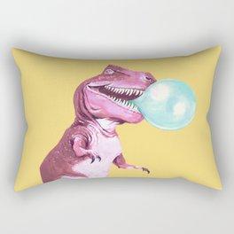 Bubble Gum Pink T-rex in Yellow Rectangular Pillow