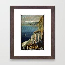 Vintage Taormina Sicily Italian travel ad Framed Art Print