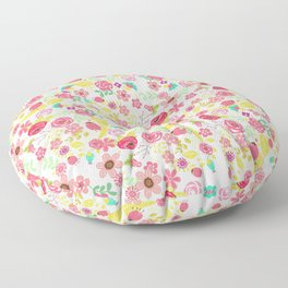 Rustic pink red yellow botanical roses flowers floral pattern Floor Pillow