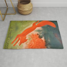 Vintage 1933 Soviet Travel Intourist Advertising Poster, Hunting In The USSR Rug