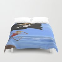 luffy Duvet Covers featuring Monkey D Luffy by Laércio Messias