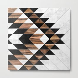 Urban Tribal Pattern No.9 - Aztec - Concrete and Wood Metal Print