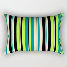 Light Green, Teal, Bisque & Black Colored Lined/Striped Pattern Rectangular Pillow