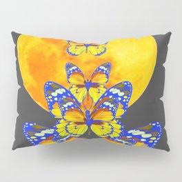 SURREAL BLUE BUTTERFLIES RISING GOLDEN MOON Pillow Sham