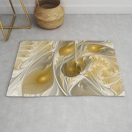 Golden, Abstract Fractal Art Rug