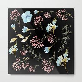 Midnight Wild Flower Garden Metal Print