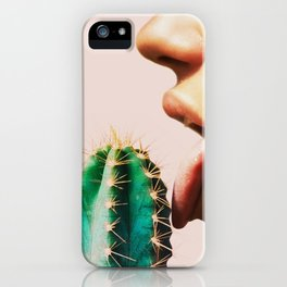 Cacti, Girl, Lips, Cactus decor, Pastel, Plant, Pink, Minimal, Interior, Wall art iPhone Case