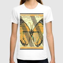 ROADKILL MONARCH BUTTERFLY  & TIRE TRACKS ART T-shirt