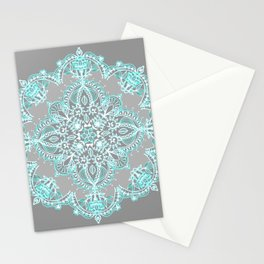 Teal and Aqua Lace Mandala on Grey Stationery Cards