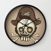 pirate Wall Clocks featuring pirate by adi katz