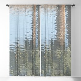 Palm Trees Reflecting in Cool Lake Waters Sheer Curtain