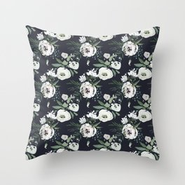 Blush pink white green black watercolor modern floral Throw Pillow