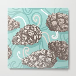 seamless pattern with Pine cones and frosty patterns. Brown and blue. Sketch. vector Metal Print