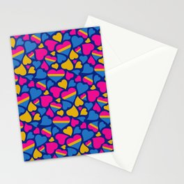 Pan Pride Hearts Pattern Stationery Cards