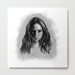 """Gooverly"" Demon Gray Drawing Metal Print"