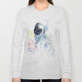 Pug Puppy in Splashy Watercolor Long Sleeve T-shirt