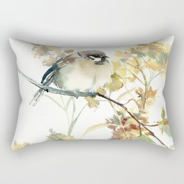 Sparrow and Dry Plants Rectangular Pillow
