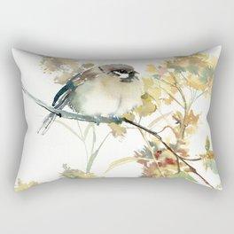 Sparrow and Dry Plants, fall foliage bird art bird design old fashion floral design Rectangular Pillow