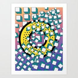Hidden Donut 3D Retro Graphic Pop Art Memphis Pattern  Art Print