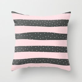 Christmas Simple seamless pattern Snow confetti on Grey and Pink Pastel Stripes Background Throw Pillow