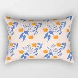 Floral Pattern Indigo Orange Blue Rectangular Pillow