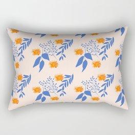 Floral Pattern Indigo Orange Blue Rectangular Pillow
