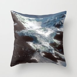 Jaw-dropping Canadian Glacier Cascading Down Mountainside Throw Pillow