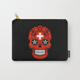 Sugar Skull with Roses and Flag of Switzerland Carry-All Pouch