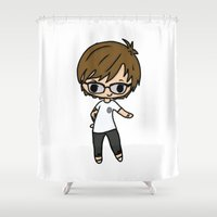 louis tomlinson Shower Curtains featuring Glasses Louis by clevernessofyou