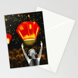 Freedom and rememberance,Lanterns,Illustrations,Sky Art Stationery Cards