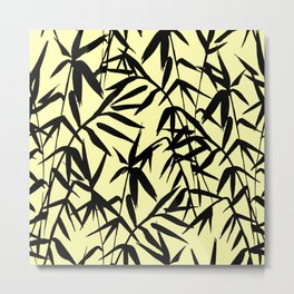 Yellow And Black, Watercolor Bamboo Seamless Pattern Metal Print