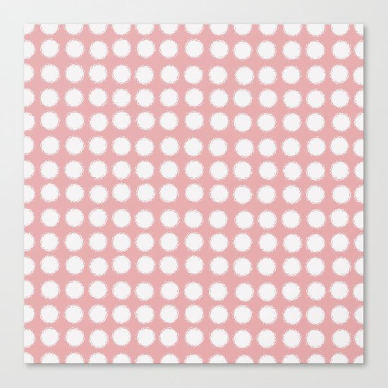 milk glass polka dots pink Canvas Print