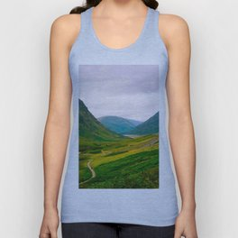 Beautiful Green Fields In A Mountain Valley Landscape Photography Unisex Tank Top