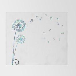 Dandelion Paua White Throw Blanket