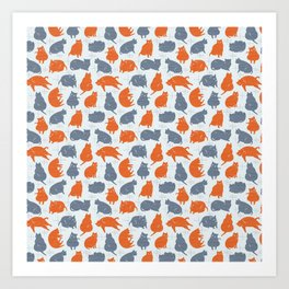 Meowcentury modern cats (orange) Art Print