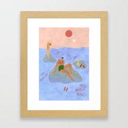 Lonely gals (wearing Frankie Shop bathing suits) Gerahmter Kunstdruck