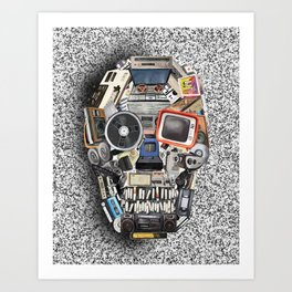 retro tech skull 5 Art Print