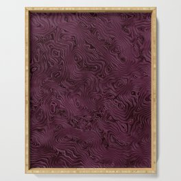 Royal Maroon Silk Moire Pattern Serving Tray