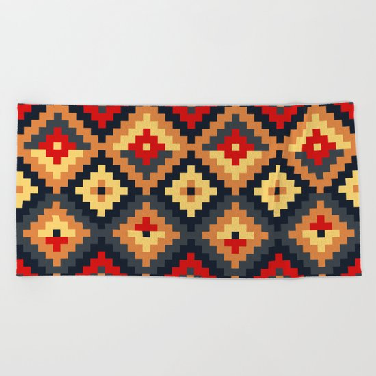 Aztec pattern-red, brown, nude, blue Beach Towel