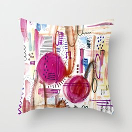 Abstract with Pink Cercles Throw Pillow