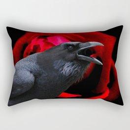 Crow Black Bird Red Rose Flower Gothic Home Decor Fantasy Art A590 Rectangular Pillow